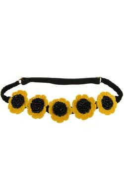 Bentita de par elastica, dama, Buticcochet, crosetata manual, Floarea Soarelui, Galben Intens
