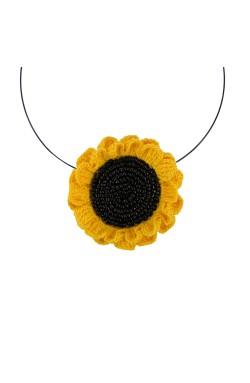 Colier Floarea Soarelui, dama, Buticcochet, crosetat manual, Galben Intens