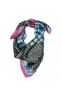 Esarfa, Batic, de dama, Bleu cu roz, 50x50 cm - ES165