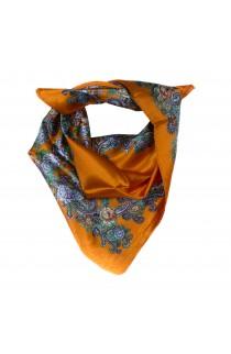Esarfa, Batic, de dama, Portocaliu cu flori, 60x60 cm - ES176