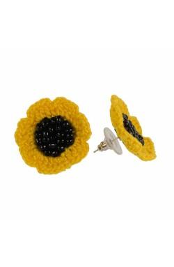 Cercei Floarea Soarelui, dama, Buticcochet, crosetati manual, Galben
