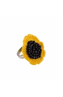 Inel Floarea Soarelui, dama, Buticcochet, crosetat manual, Galben intens