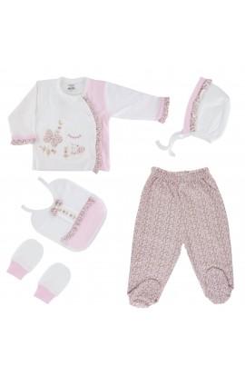 Set haine copii, bebelusi, 1-3 luni, 5 piese, cu floricele, Gaye bebe - 56 cm