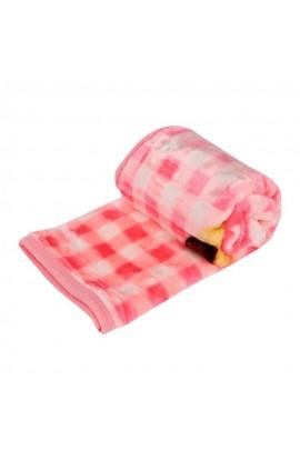 Patura de copii, 100% microfibra, Roz cu urs, Buticcochet, 110x85 cm