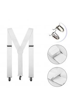 Bretele albe, adulti unisex, cu inchizatori metalice, 35 mm