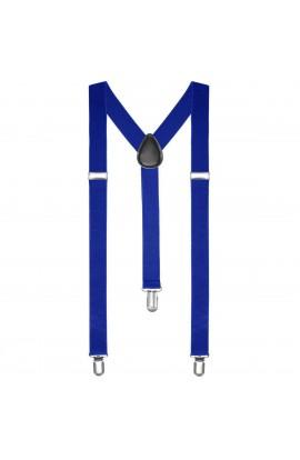 Bretele  slim unisex, albastru electric, cu inchizatori metalice, 25 mm