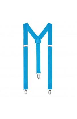 Bretele slim unisex, albastru, cu inchizatori metalice, 25 mm, BR04