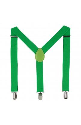 Bretele copii, verde, cu inchizatori metalice, 25 mm