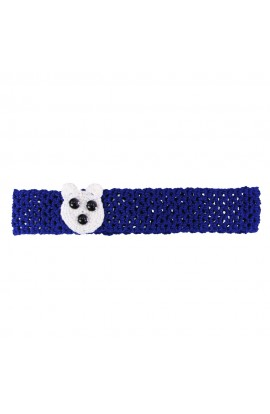 Bentita de par, fetite, Buticcochet, crosetata manual, Albastra cu urs alb