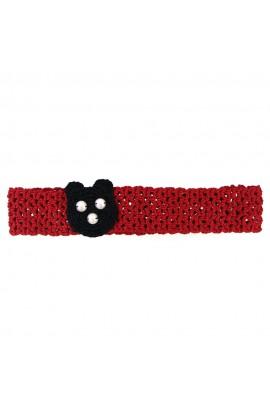 Bentita de par, fetite, Buticcochet, crosetata manual, Rosie cu urs negru, BTRSUN01
