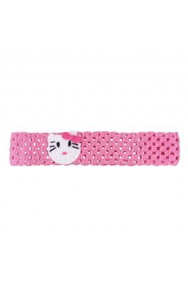 Bentita de par, fetite, Buticcochet, crosetata manual, Roz cu pisicuta