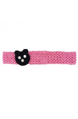 Bentita de par, fetite, Buticcochet, crosetata manual, Roz cu urs negru