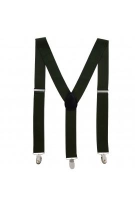 Bretele adulti unisex, verde kaki, cu inchizatori metalice, 35 mm, BR11