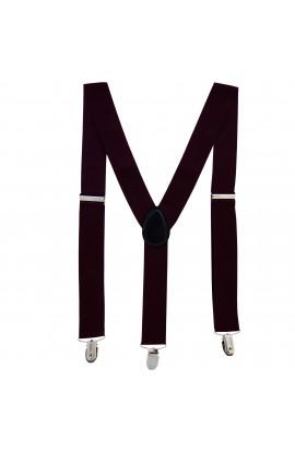 Bretele adulti unisex, visiniu, cu inchizatori metalice, 35 mm, BR12