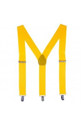 Bretele adulti unisex, galben intens, cu inchizatori metalice, 35 mm, BR21