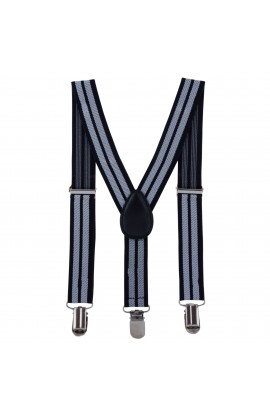 Bretele copii, negru cu dungi gri, inchizatori metalice, 25 mm