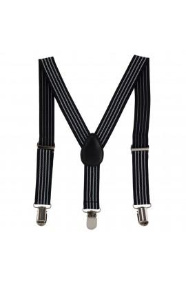 Bretele copii, negru cu dungi, inchizatori metalice, 25 mm