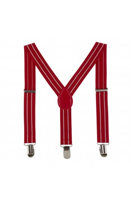 Bretele copii, rosu cu linii, inchizatori metalice, 25 mm