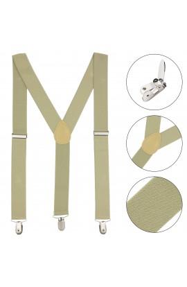 Bretele adulti unisex, Buticcochet, Bej,  inchizatori metalice, 35 mm - BR40