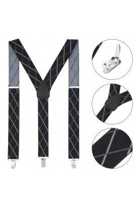 Bretele adulti unisex, Buticcochet, Negru cu linii gri,  inchizatori metalice, 35 mm - BR41