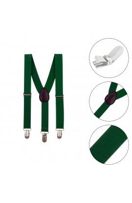 Bretele copii, verde cu negru, inchizatori metalice, 25 mm, BR48