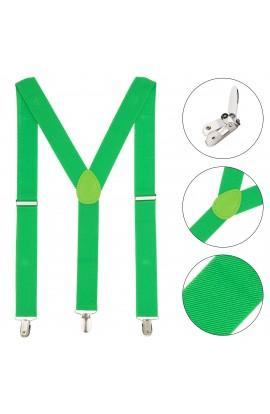 Bretele adulti unisex, Buticcochet, Verde,  inchizatori metalice, 35 mm - BR65