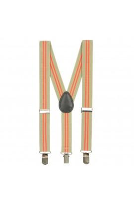 Bretele copii, Bej cu linii portocalii, inchizatori metalice, 25 mm, BR66