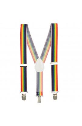 Bretele copii, cu linii multicolore, inchizatori metalice, 25 mm, BR68