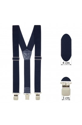 Bretele adulti unisex, rezistente, Bleumarin, cu 3 inchizatori metalice, 40 mm, BR70