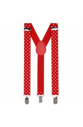 Bretele copii, Buticcochet, Rosu cu buline albe, inchizatori metalice, 25 mm, BR75