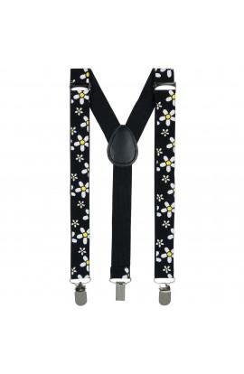Bretele copii, Buticcochet, Negru cu flori albe, inchizatori metalice, 25 mm, BR80