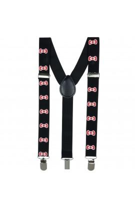 Bretele copii, Buticcochet, Negru cu fundite rosii, inchizatori metalice, 25 mm, BR81