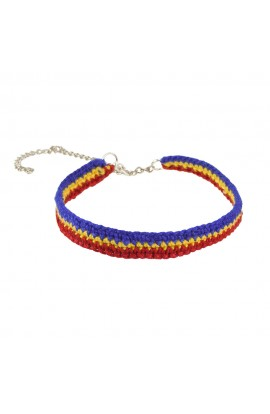 Bratara Unisex, Tricolor cu lant, Buticcochet, crosetata manual