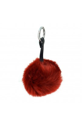Breloc pentru chei sau geanta, blanita artificiala, Visiniu, 10 cm, BRL202