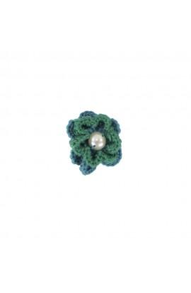 Brosa floricica, fetite, Buticcochet, crosetata manual, Verde cu perla alba, BCVRAL16