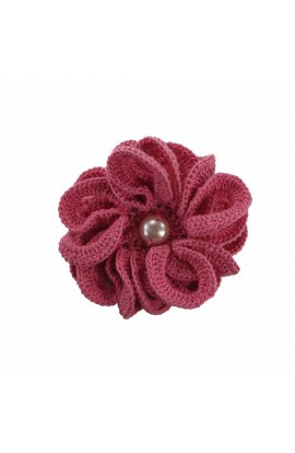 Brosa floare roz cu perla alba de dama crosetata manual Buticcochet