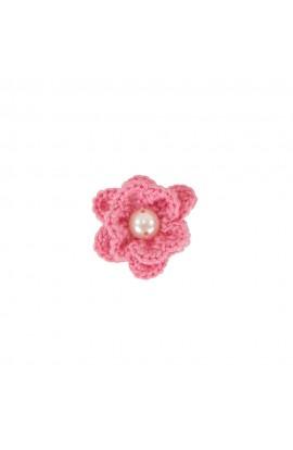 Brosa floricica, fetite, Buticcochet, crosetata manual, Roz cu perla alba, BCPKAL06