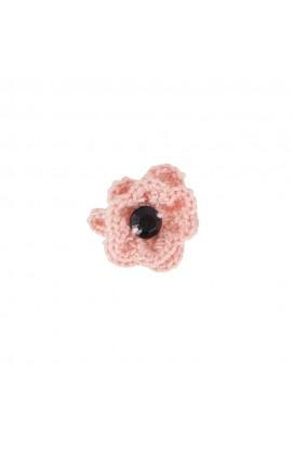 Brosa floricica, fetite, Buticcochet, crosetata manual, Roz pal cu piatra neagra, BCRZNG05