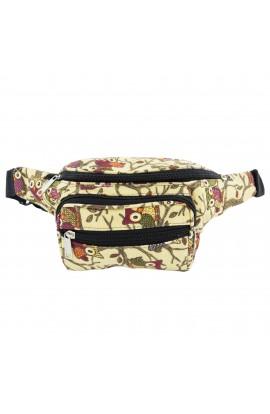 Borseta dama, Buticcochet, material textil, Bej cu bufnite - BRS211