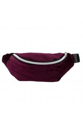 Borseta brau, umar, din material textil catifelat, Buticcochet, Bordo - BRS229
