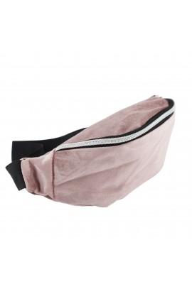 Borseta brau, umar, din material textil catifelat, Buticcochet, Lila- BRS230