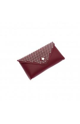 Borseta de dama, Buticcochet, din piele ecologica, cu aplicatii metalice, Rosu -  BRS271