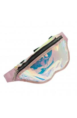 Borseta de brau, pentru dama, Buticcochet, Roz cu reflexe multicolore - BRS335