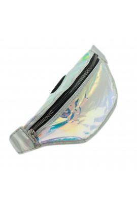 Borseta de brau, pentru dama, Buticcochet, Argintiu cu reflexe multicolore - BRS337