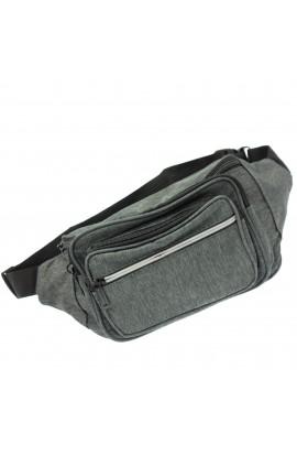 Borseta brau pentru barbati, Buticcochet, din material textil, Gri, 5 compartimente - BRS392