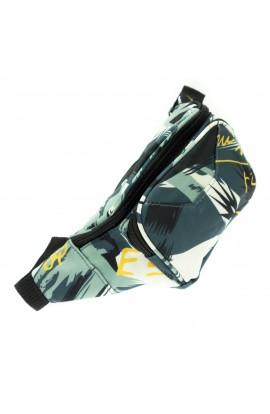 Borseta brau pentru barbati, Buticcochet, din material textil, 3 compartimente, Verde / Galben - BRS396