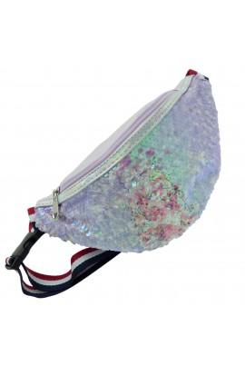 Borseta pentru copii, Lila cu paiete, model unicorn - BRS403