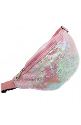 Borseta pentru copii, Roz cu paiete, model unicorn - BRS404
