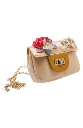 Geanta pentru copii, Portocaliu, cu paiete si floricele colorate - BRS411
