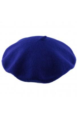 Bereta de dama, Albastru electric, Buticcochet, 100% lana - BSC219